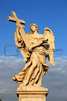 Angel statue in Saint Angel bridge of Rome, Italy