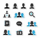 Businessman businesswoman user vector icons set