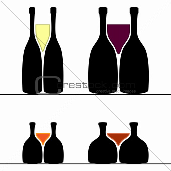 Set of alcohol bottles and glasses