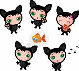 Cute funny kitten set vector illustration