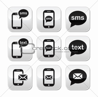Mobile sms text message mail buttons set