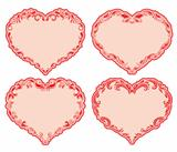 Set of ornate heart frames .