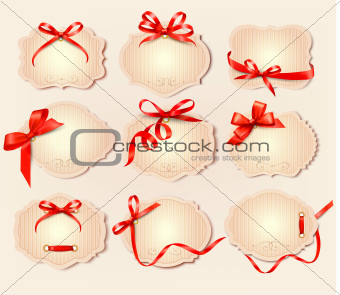Set of beautiful retro labels with red gift bows with ribbons.Vector
