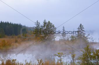 Barmsee in Alps in morning fog