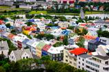 Reykjavik city bird view of colorful houses