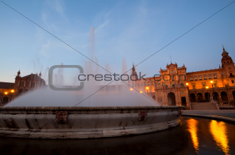 fountain by Plaza de Espana in Sevilla in night