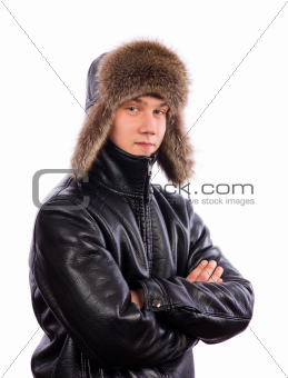 Young man dressed for winter