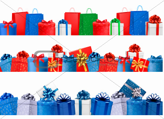 Set of shopping banners with gift colorful boxes with bow and ribbon. Vector illustration.
