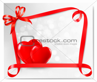 Valentine background with two red hearts and gift bow and ribbons. Vector illustration.