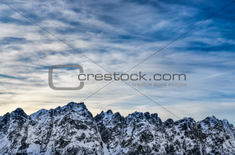 Winter High Tatras mountains landscape with cloudy sky