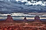 Monument valley cloudy colorful sunrise