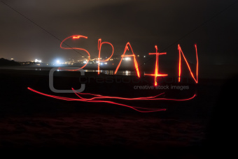 Spain Written With Red Torch Light.
