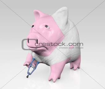 piggy bank bandaged