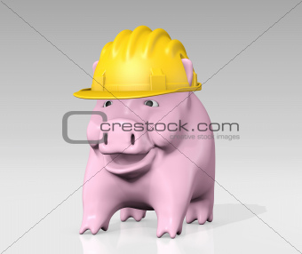 piggy bank with construction helmet