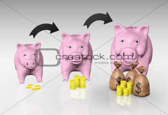 the piggy bank is growing up