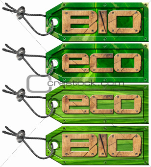 Bio Eco Green Tags - 4 items