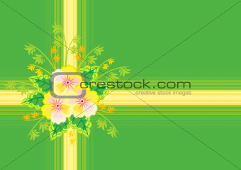 Abstract flowers with ribbon and background