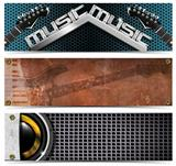 Set of Metallic Music Headers