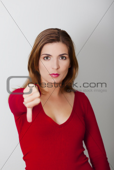 Woman with thumbs down