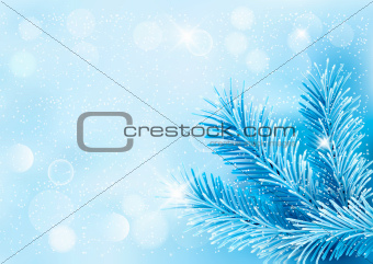 Holiday blue background with tree branches and snowflake. Vector illustration.