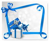 Holiday background with blue gift bows with blue ribbons. Vector illustration.