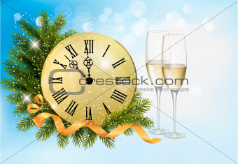 Holiday blue background with champagne glasses and clock . Vector illustration.