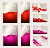 Set of beautiful Gift cards with red and pink gift bows with ribbons Vector illustration.