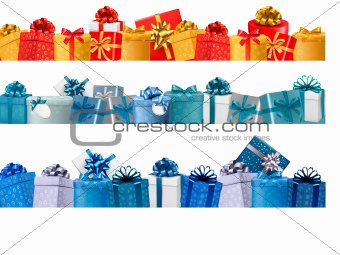 Collection of holiday banners with colorful gift boxes with bows. Vector illustration