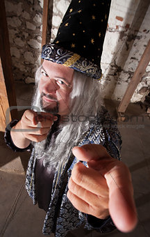 Smiling Wizard Pointing