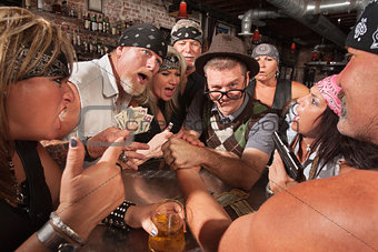 Nerd Arm Wrestling with Gambling Bikers