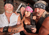 Four Tough Bikers in a Bar