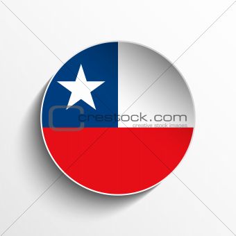 Chile Flag Paper Circle Shadow Button
