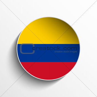 Colombia Flag Paper Circle Shadow Button