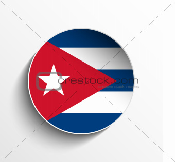 Cuba Flag Paper Circle Shadow Button
