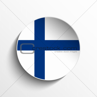 Finland Flag Paper Circle Shadow Button