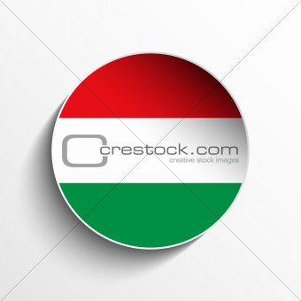 Hungary Flag Paper Circle Shadow Button