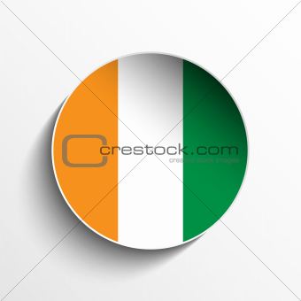 Ireland Flag Paper Circle Shadow Button