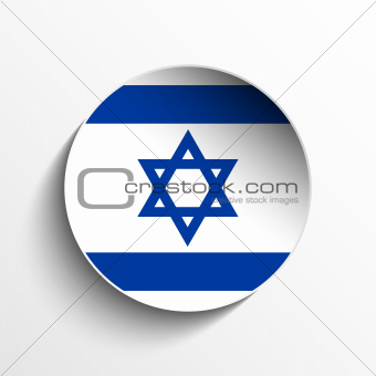 Israel Flag Paper Circle Shadow Button
