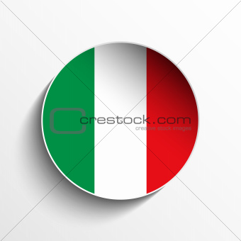 Italy Flag Paper Circle Shadow Button