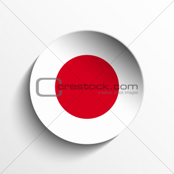 Japan Flag Paper Circle Shadow Button