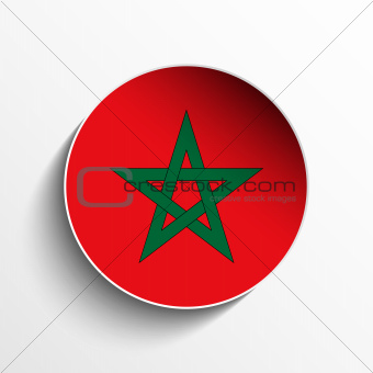Morocco Flag Paper Circle Shadow Button