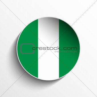 Nigeria Flag Paper Circle Shadow Button
