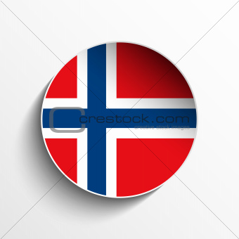 Norway Flag Paper Circle Shadow Button