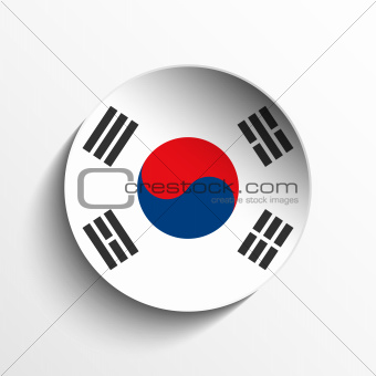South Korea Flag Paper Circle Shadow Button