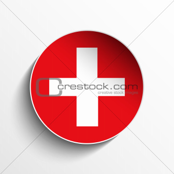 Switzerland Flag Paper Circle Shadow Button