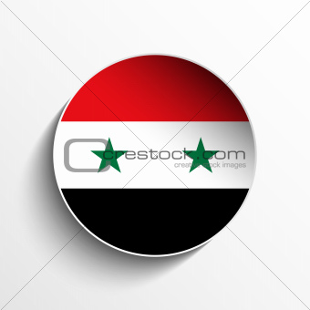 Syria Flag Paper Circle Shadow Button