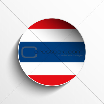 Thailand Flag Paper Circle Shadow Button