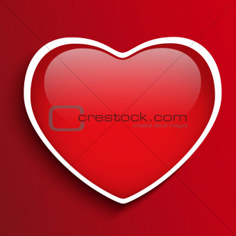 Glass Red Glossy Heart