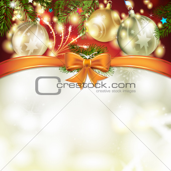 Christmas card with pine tree
