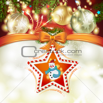 Christmas star with snowman